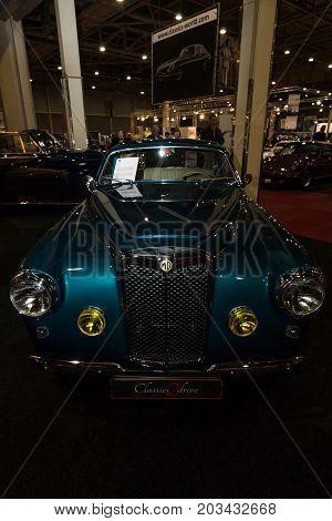 MAASTRICHT NETHERLANDS - JANUARY 08 2015: Sports car MG Arnolt TD Bertone 1953. International Exhibition InterClassics & Topmobiel 2015