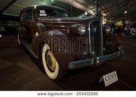 MAASTRICHT NETHERLANDS - JANUARY 08 2015: Full-size luxury car Cadillac Fleetwood Series 70. International Exhibition InterClassics & Topmobiel 2015