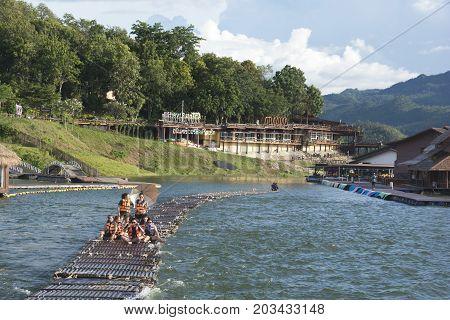 September 04, 2017 : Tourists Floating On The River By Wooden Raft In Srinakarin Dam, Kanchanaburi,