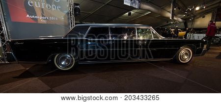 MAASTRICHT NETHERLANDS - JANUARY 08 2015: Presidential limousine Lincoln Continental 1965. International Exhibition InterClassics & Topmobiel 2015