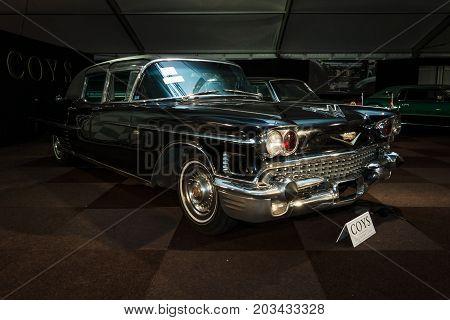 MAASTRICHT NETHERLANDS - JANUARY 08 2015: Full-size luxury car Cadillac series 75 Fleetwood Limousine Imperial Sedan by Derham 1958. International Exhibition InterClassics & Topmobiel 2015