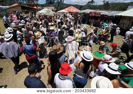 August 6 2017 Medellin Colombia: some of the farms turn into a party ground during the annual flower festival in Santa Elena area