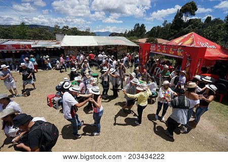 August 6 2017 Medellin Colombia: people dancing outdoors during the flower festival