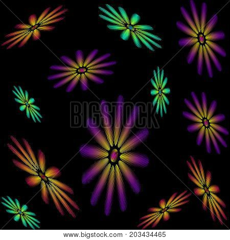 Seamless pattern consisting of embroidered colorful flowers on back background. Vector illustration.