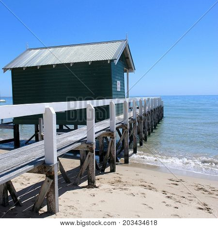 Boat shed and jetty at Portsea Beach.