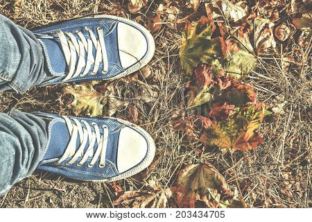 Autumn background. Legs in blue gym shoes standing on colorful fallen leaves. Free space for text. Concept: making important decisions meditation.morning
