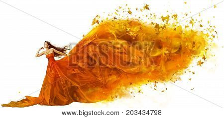 Autumn Woman Art Fashion Model in Fall Leaves Dress Long Artistic Fabric Flowing on wind