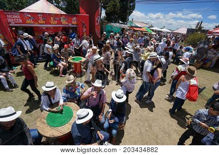 August 6 2017 Medellin Colombia: some people dancing outdoors during the flower festival