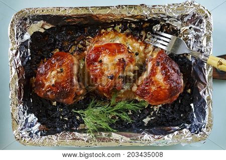 Chicken thighs barbecue Christmas dinner holiday with spices