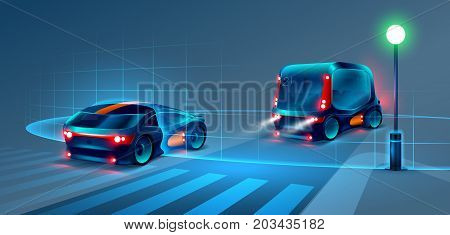 Autonomous smart bus and car rides through the night city. Smart bus scans the road and goes without a driver. Smart bus recognize road signs lane markings and pedestrians at the crosswalk. VECTOR