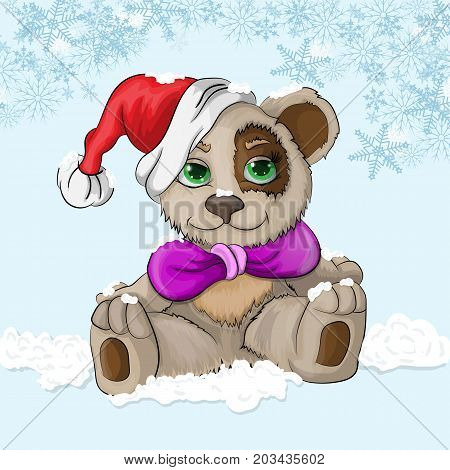 vector illustration of a sitting little bear cub on the snow in a Christmas hat