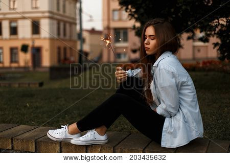 Beautiful Stylish Fashionable Girl In Casual Style In A Shirt, Black Gtans And White Shoes With Beng