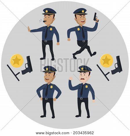 Policeman concept set. Cartoon illustration of 4 policeman vector illustration.