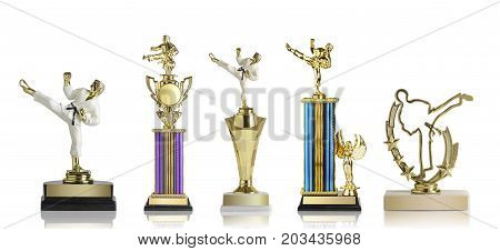Golden martial arts trophies collection isolated on white background