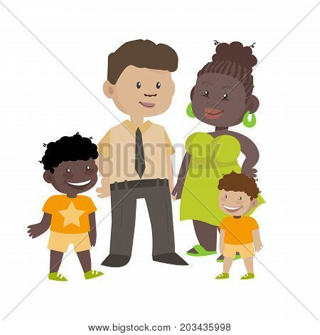 Ethnic family of black wife and white husband with children