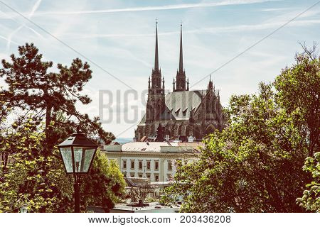 Cathedral of St. Peter and Paul in Brno Moravia Czech republic. Religious architecture. Beautiful place. Yellow photo filter.