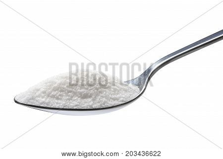 Spoon of sugar isolated on white background