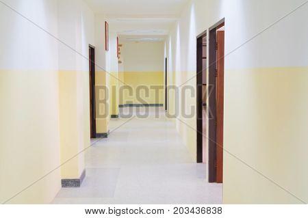 walkway the a classroom internal building .