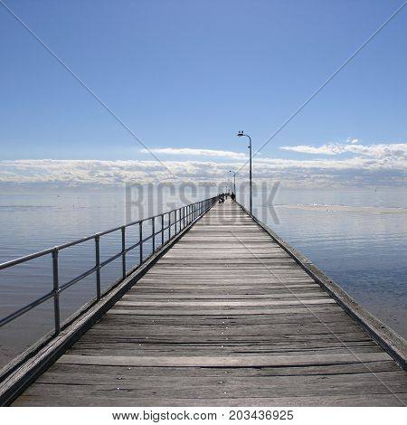 The pier reaching out to the horizon at Rosebud.
