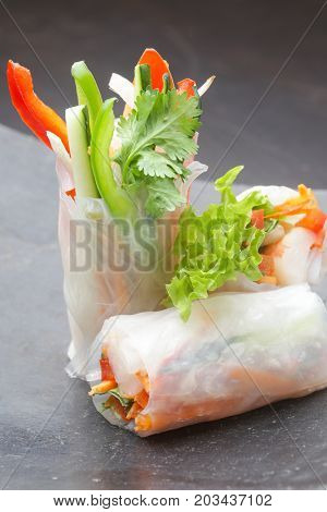Fresh spring rolls wrapped in the rice paper