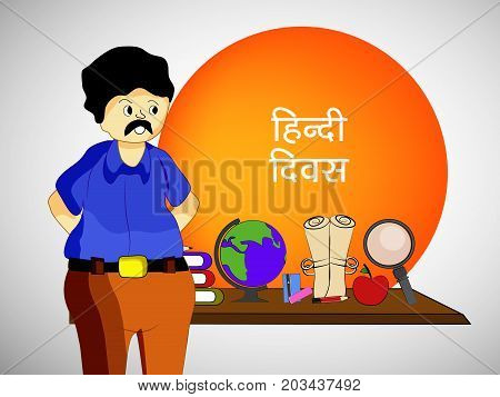 illustration of a teacher, globe, lense, book and apple with Hindi Divas Text in hindi language on the occasion of Hindi Divas. Hindi divas is a day when India had adopted hindi language as official language of the Republic of India