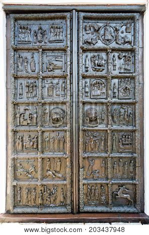 Veliky Novgorod Russia - August 17 2017: Ancient bronze Magdeburg Gates of St. Sophia Cathedral in Veliky Novgorod Russia 1153 year
