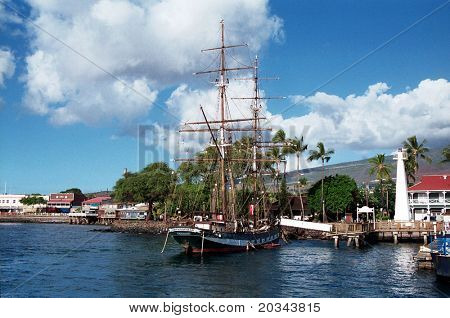 Sailing ship in Lahaina harbour, Hawaii