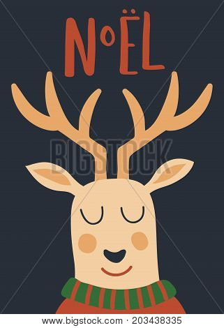 vector design of Christmas card with deer face closeup and Noel hand letttering text