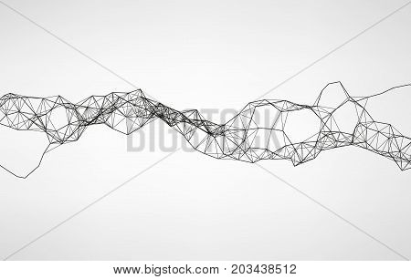 Abstract vector illustration. Wavy mechanical construction. Complex polygonal system. Modern digital technologies. Element of design.