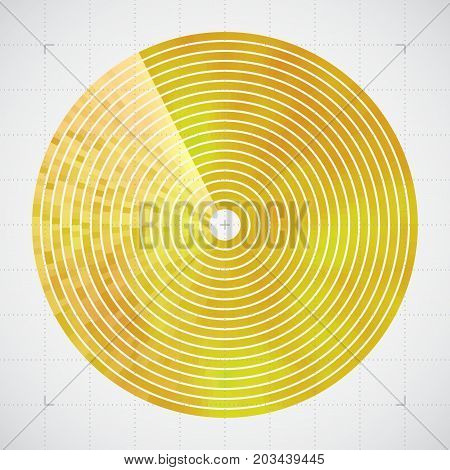 Modern decorative technical vector illustration. Visual thermal navigation system. Colorful round heatmap. Image of working radar. Vivid scientific background. Element of design.