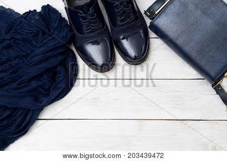 Fashion accessories and clothes dark blue. Mockup
