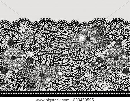 Lacy black seamless pattern of flower ribbon. Vector illustration.