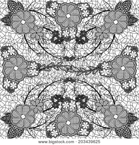 Monochrome lace seamless pattern of flowers and leaves. Vector illustration.
