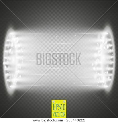 Round white glow rays night scene with sparks on transparent background. Empty light effect podium. Disco club dance floor. Show party. Beam stage. Magic fantasy portal. Futuristic teleport.