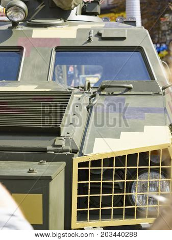 Armored Military Vehicle Front Detail - Headlight. Kiev Ukraine