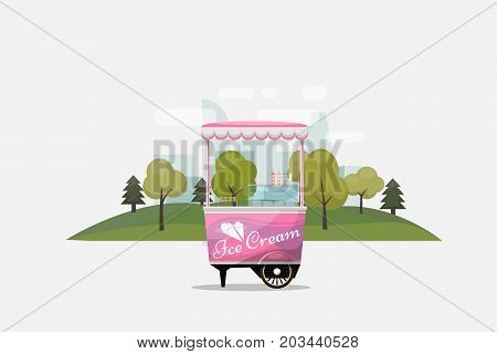 Ice cream cart, kiosk on wheels, retailers, dairy desserts, isolated and Flat style vector illustration. Cool refreshing dessert sale Illustration for your projects.