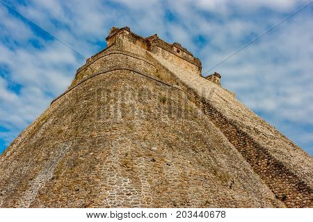 The Piramyd Of The Wizard At The Uxmal Archaeological Site, Yucatan, Mexico.
