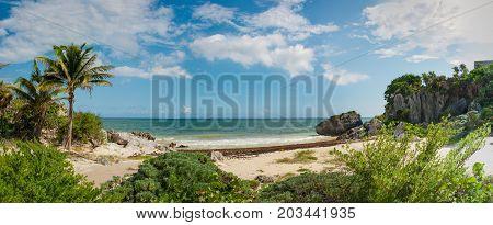 Tropical Beach At The Tulum Archaeological Site, Quintana Roo, Mexico.