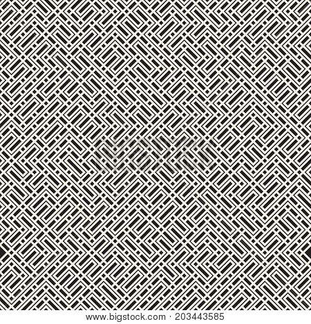 Irregular Techno Maze Lines. Abstract Geometric Background Design. Vector Seamless Black and White Chaotic Pattern.