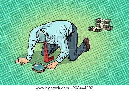Headless man looking through a magnifying glass money. pop art retro vector illustration