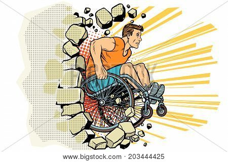 Caucasian male athlete in a wheelchair punches the wall. person in sports. Barrier-free environment for disabled. pop art retro vector illustration