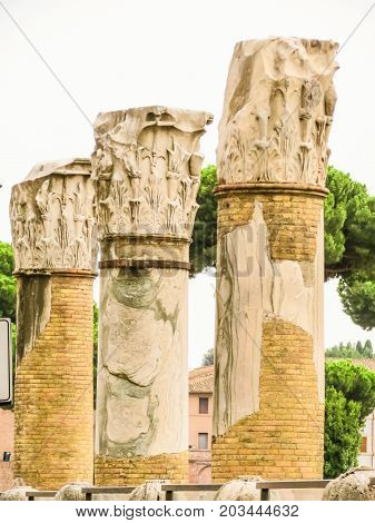Ancient columns of the Roman Forum. Ruins of times of the Roman Empire. Rome, Italy