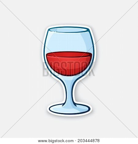 Vector illustration. A glass of red wine. Glass goblet of alcohol drink. Sticker in cartoon style with contour. Isolated on white background