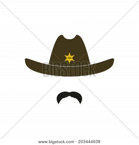 Sheriff's head. Cowboy icon. Design vector illustration.