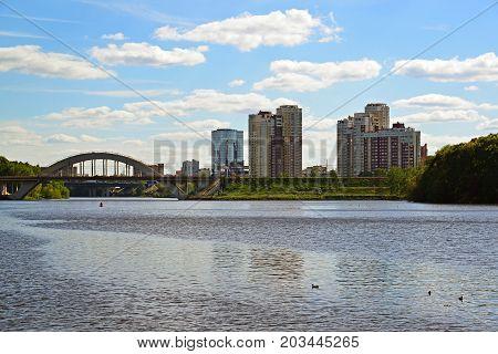 A railway bridge across the Moscow Canal in Khimki, Russia