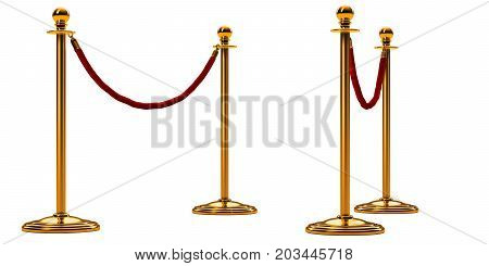 barrier rope isolated on white. Gold pole with red fence. Perspective view. Luxury VIP concept. Equipment for events. 3d render