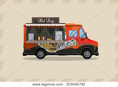 Hot dog cart, kiosk on wheels, retailers, fast snack breakfast, fast food and flat style, isolated vector illustrations. Symbol for your projects.
