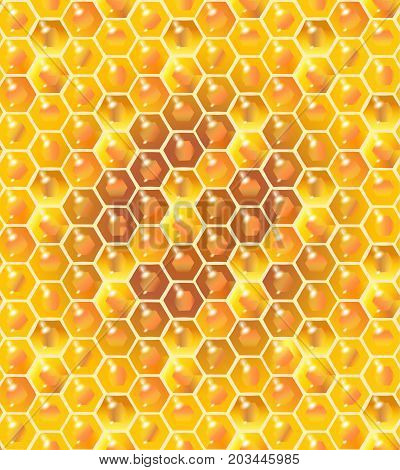 Honey. Honeycomb seamless pattern. Vector illustration honeycomb.
