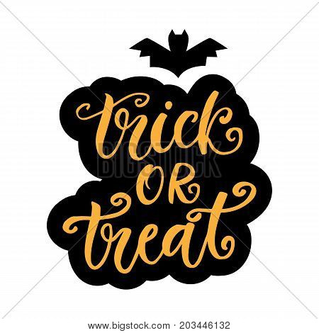 Trick or Treat. Halloween Party Poster with Handwritten Ink Lettering. Modern Calligraphy text, isolated on white background. Vector Illustration.