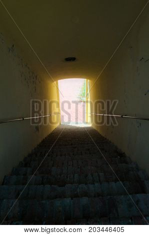 Light at the end of stairways tunnel